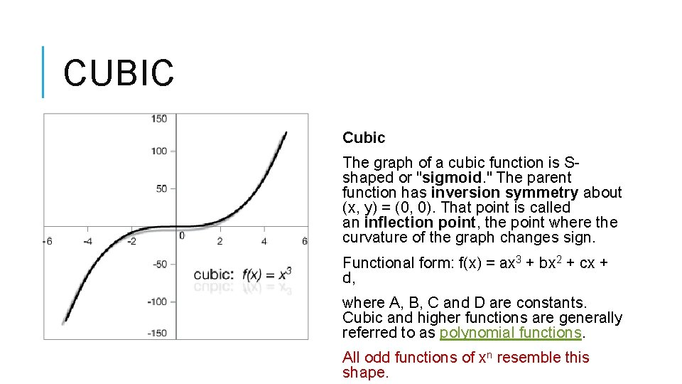 """CUBIC Cubic The graph of a cubic function is Sshaped or """"sigmoid. """" The"""