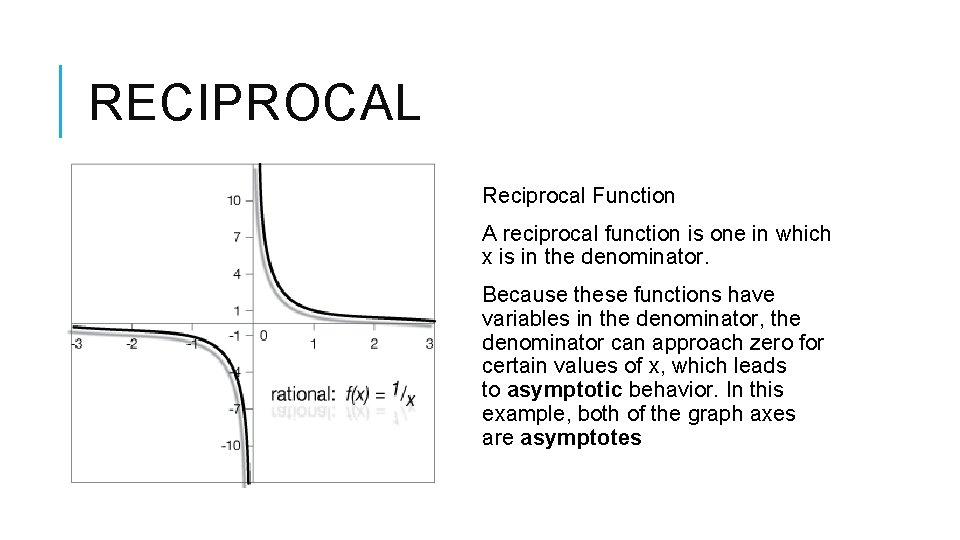 RECIPROCAL Reciprocal Function A reciprocal function is one in which x is in the