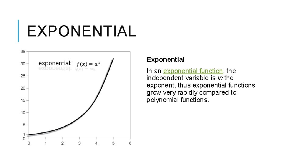 EXPONENTIAL Exponential In an exponential function, the independent variable is in the exponent, thus