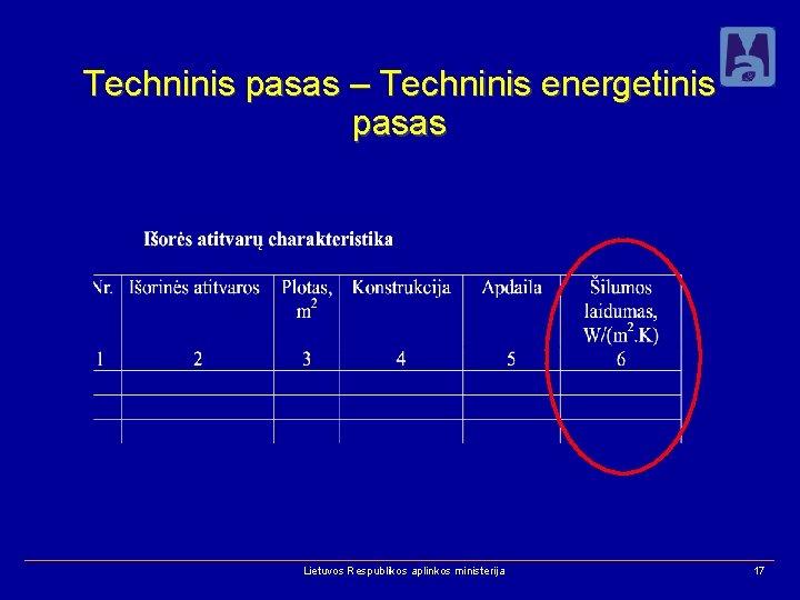 Techninis pasas – Techninis energetinis pasas Lietuvos Respublikos aplinkos ministerija 17