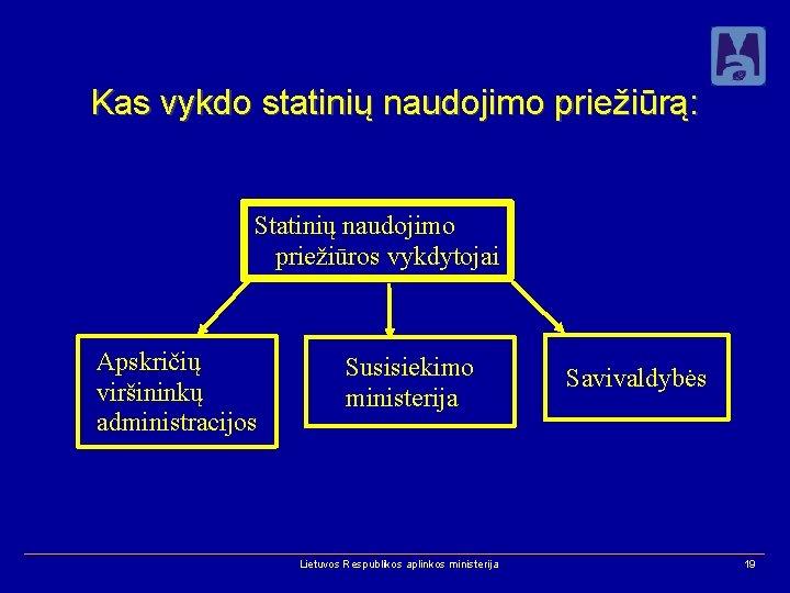 Kas vykdo statinių naudojimo priežiūrą: Statinių naudojimo priežiūros vykdytojai Apskričių viršininkų administracijos Susisiekimo ministerija