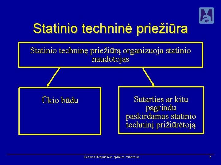 Statinio techninė priežiūra Statinio techninę priežiūrą organizuoja statinio naudotojas Ūkio būdu Sutarties ar kitu