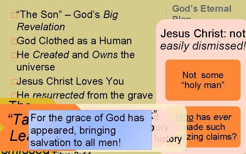 """�""""The Son"""" – God's Big God's Eternal Plan… Revelation Jesus Christ: not �God Clothed"""