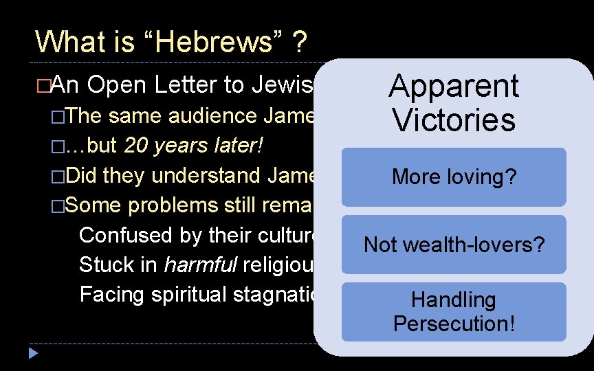 """What is """"Hebrews"""" ? Apparent �The same audience James addressed Victories �An Open Letter"""