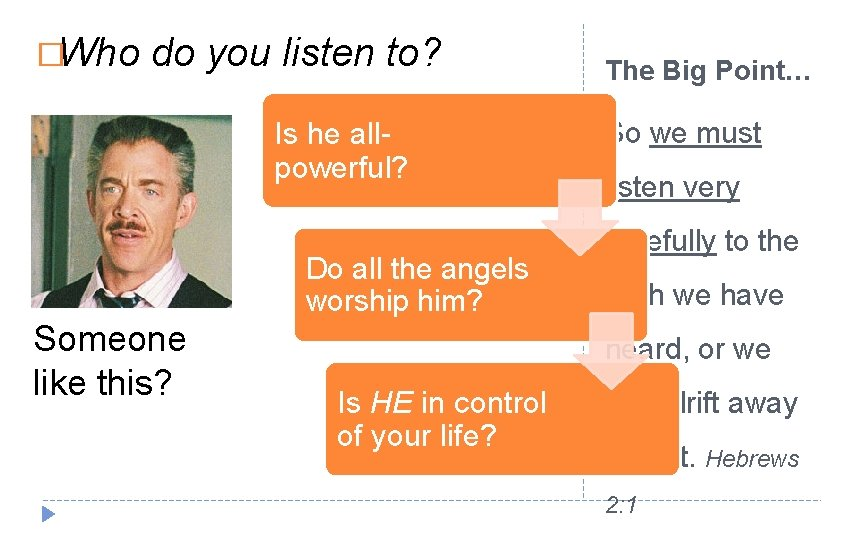 �Who do you listen to? Is he allpowerful? Do all the angels worship him?