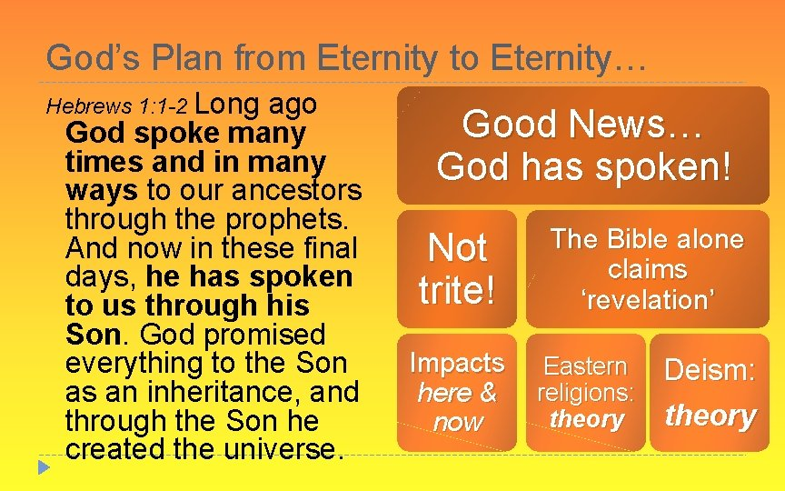 God's Plan from Eternity to Eternity… Hebrews 1: 1 -2 Long ago God spoke