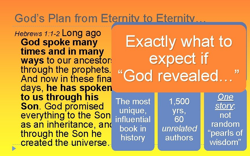 God's Plan from Eternity to Eternity… Hebrews 1: 1 -2 Long ago The Bible: