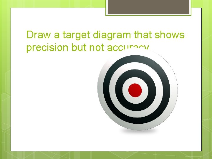 Draw a target diagram that shows precision but not accuracy