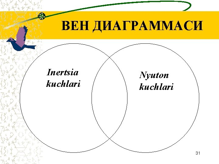 ВЕН ДИАГРАММАСИ Inertsia kuchlari Nyuton kuchlari 31