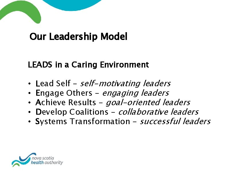 Our Leadership Model LEADS in a Caring Environment • • • Lead Self –