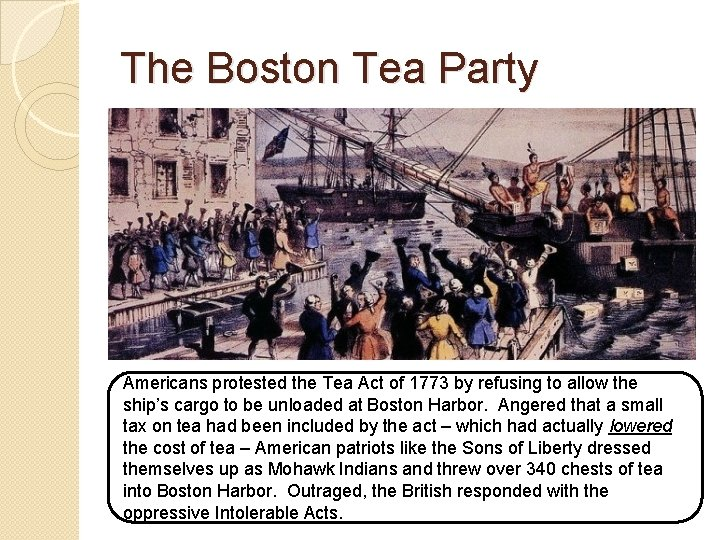 The Boston Tea Party Americans protested the Tea Act of 1773 by refusing to