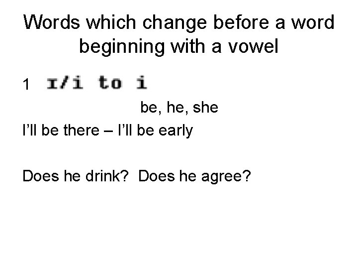 Words which change before a word beginning with a vowel 1 be, he, she