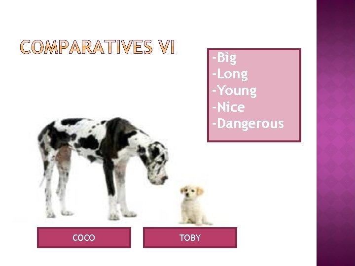 -Big -Long -Young -Nice -Dangerous COCO TOBY