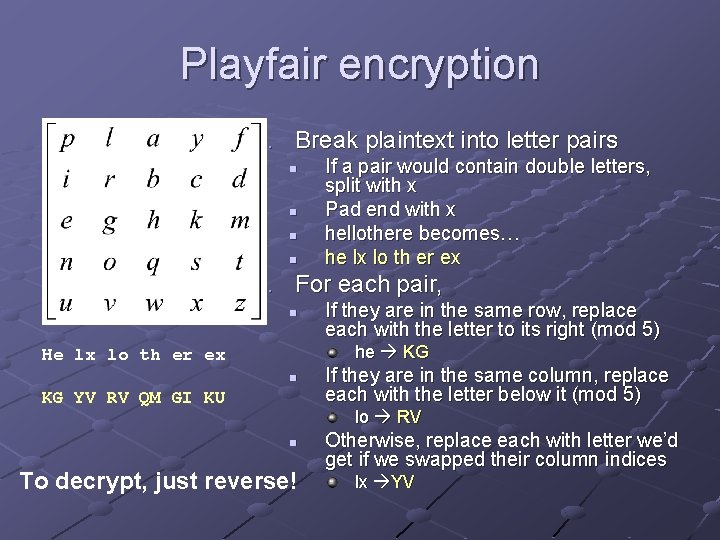 Playfair encryption 1. Break plaintext into letter pairs n n If a pair would