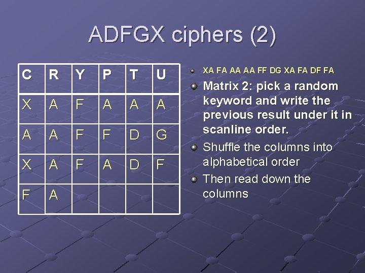 ADFGX ciphers (2) C R Y P T U X A F A A