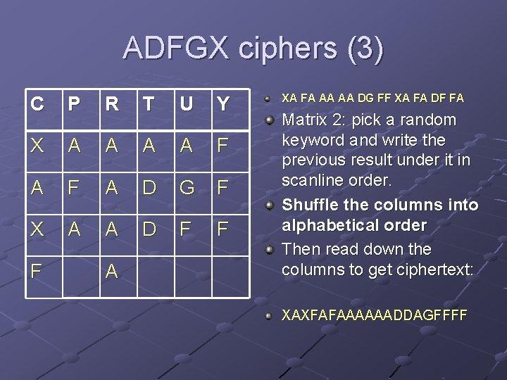 ADFGX ciphers (3) C P R T U Y X A A F A