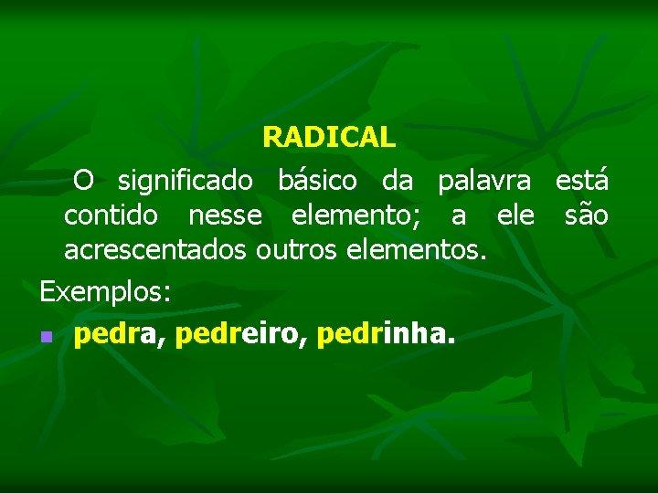RADICAL O significado básico da palavra está contido nesse elemento; a ele são acrescentados