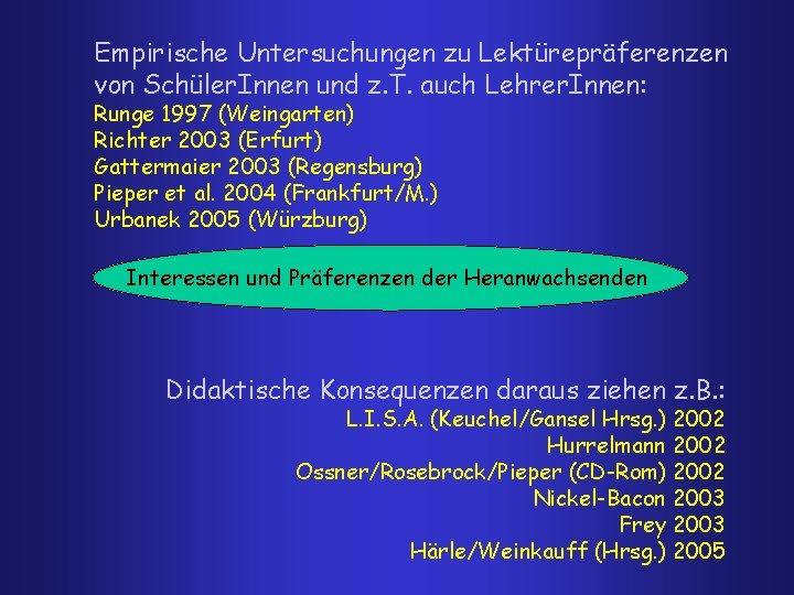 Empirische Untersuchungen zu Lektürepräferenzen von Schüler. Innen und z. T. auch Lehrer. Innen: Runge