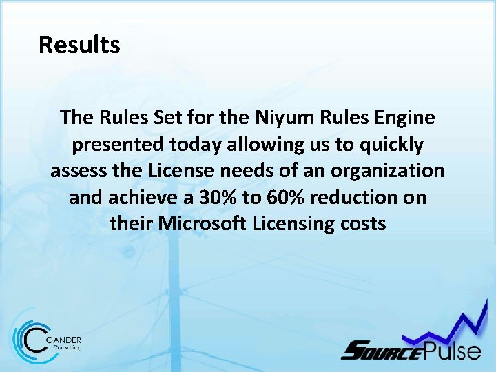 Results The Rules Set for the Niyum Rules Engine presented today allowing us to