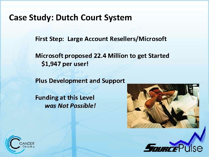 Case Study: Dutch Court System First Step: Large Account Resellers/Microsoft proposed 22. 4 Million