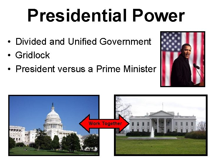 Presidential Power • Divided and Unified Government • Gridlock • President versus a Prime