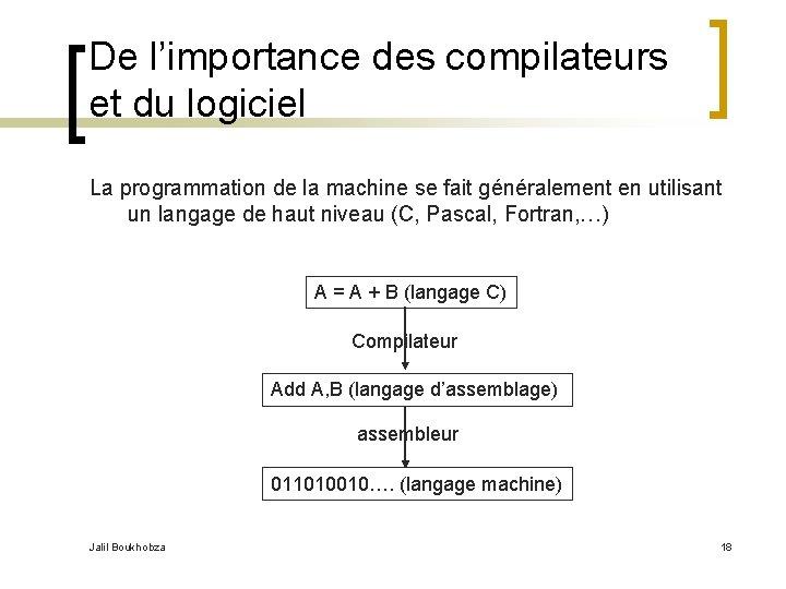 De l'importance des compilateurs et du logiciel La programmation de la machine se fait