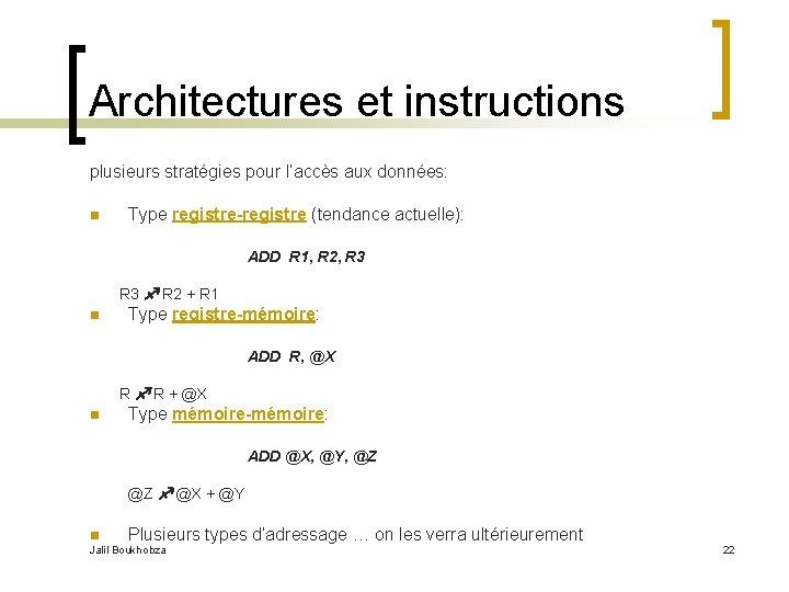 Architectures et instructions plusieurs stratégies pour l'accès aux données: n Type registre-registre (tendance actuelle):