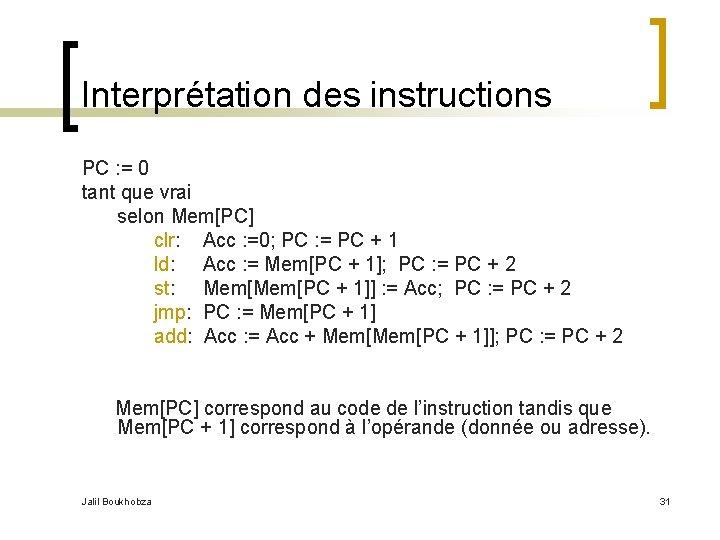 Interprétation des instructions PC : = 0 tant que vrai selon Mem[PC] clr: Acc
