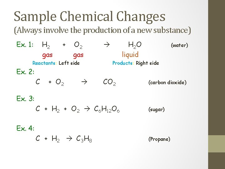 Sample Chemical Changes (Always involve the production of a new substance) Ex. 1: H