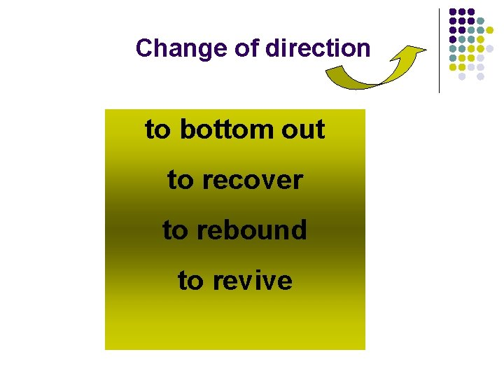Change of direction to bottom out to recover to rebound to revive
