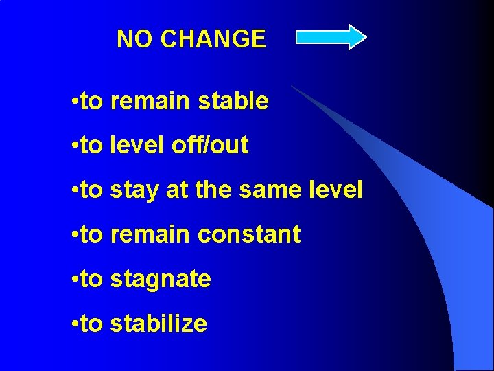NO CHANGE • to remain stable • to level off/out • to stay at