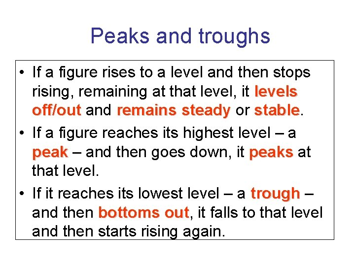 Peaks and troughs • If a figure rises to a level and then stops