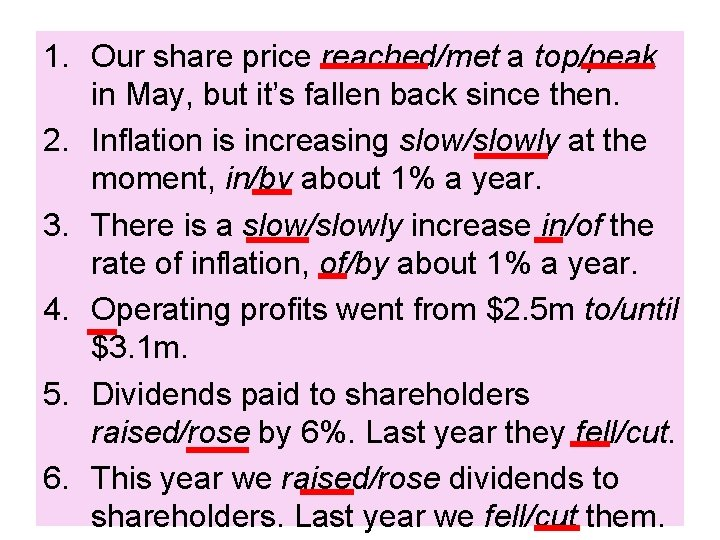 1. Our share price reached/met a top/peak in May, but it's fallen back since