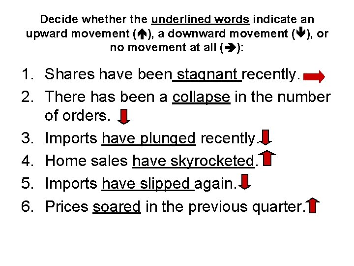Decide whether the underlined words indicate an upward movement ( ), a downward movement