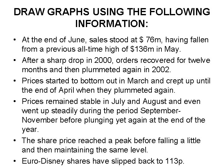 DRAW GRAPHS USING THE FOLLOWING INFORMATION: • At the end of June, sales stood