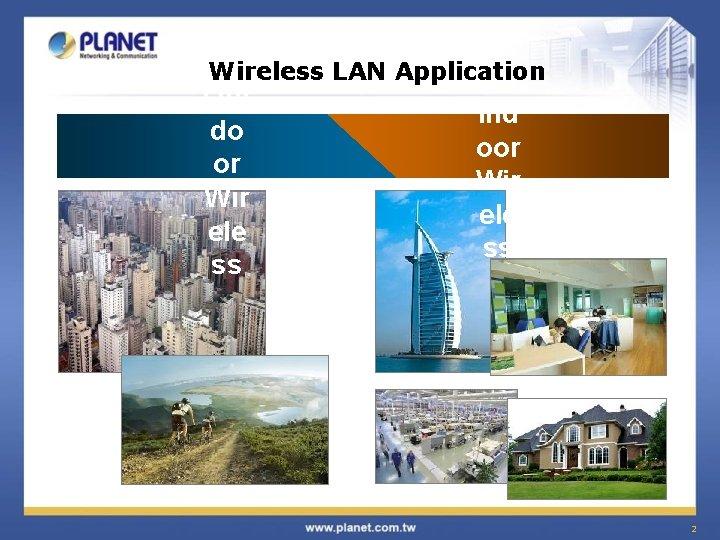 Wireless LAN Application Out do or Wir ele ss Ind oor Wir ele ss