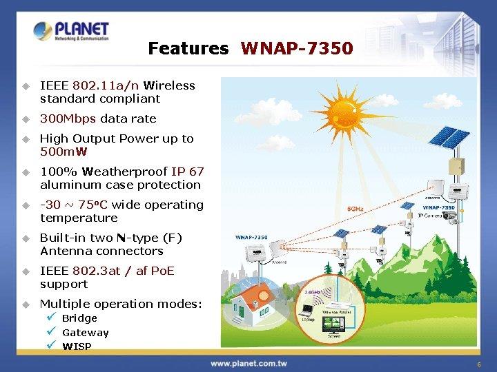 Features WNAP-7350 u IEEE 802. 11 a/n Wireless standard compliant u 300 Mbps data