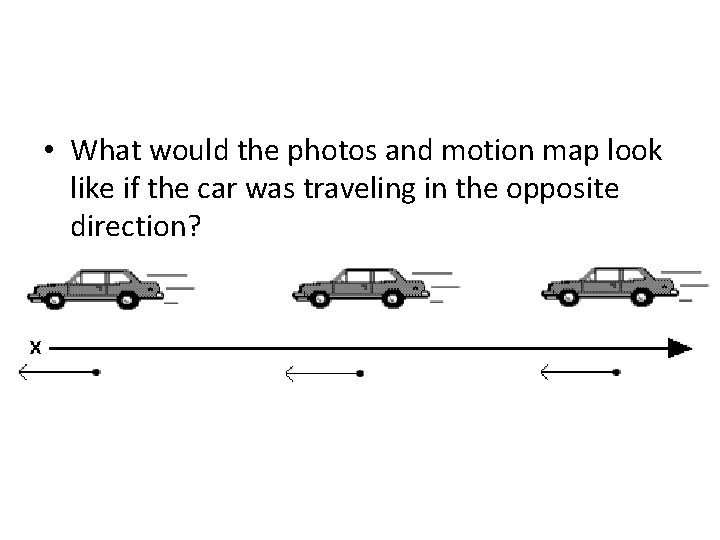 • What would the photos and motion map look like if the car
