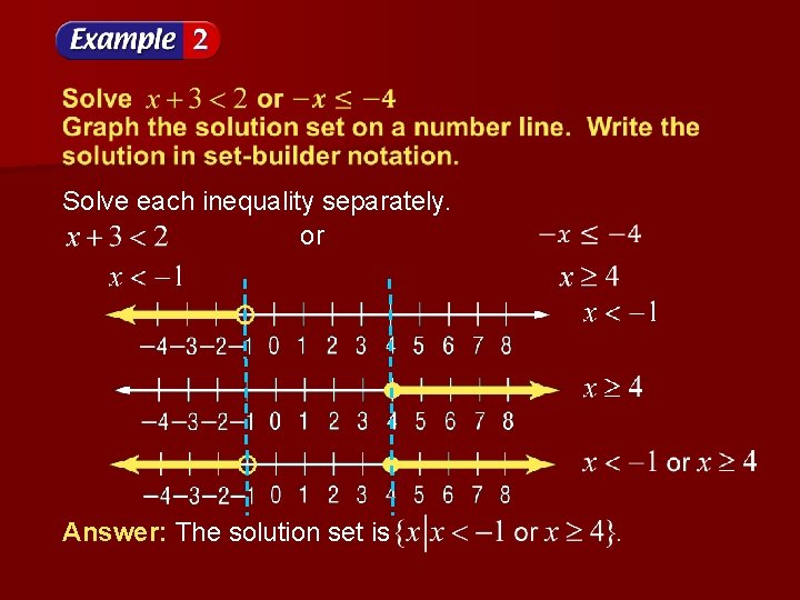 Solve each inequality separately. or Answer: The solution set is
