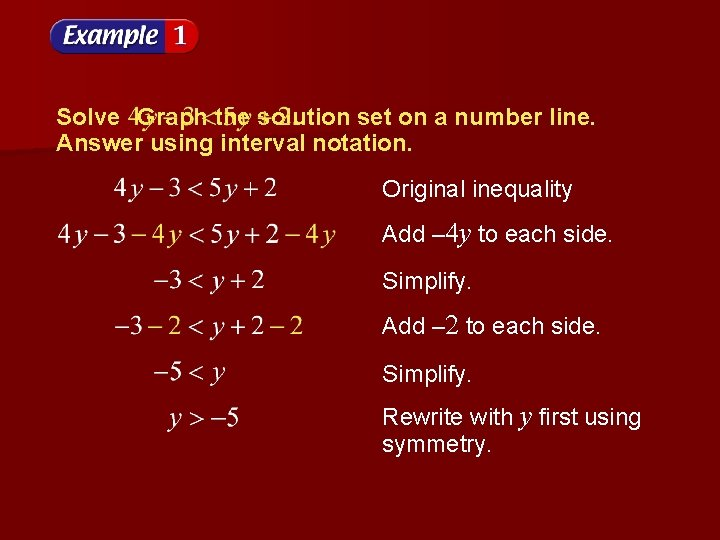 Solve Graph the solution set on a number line. Answer using interval notation. Original