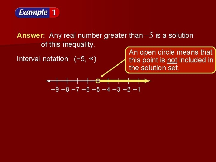 Answer: Any real number greater than – 5 is a solution of this inequality.