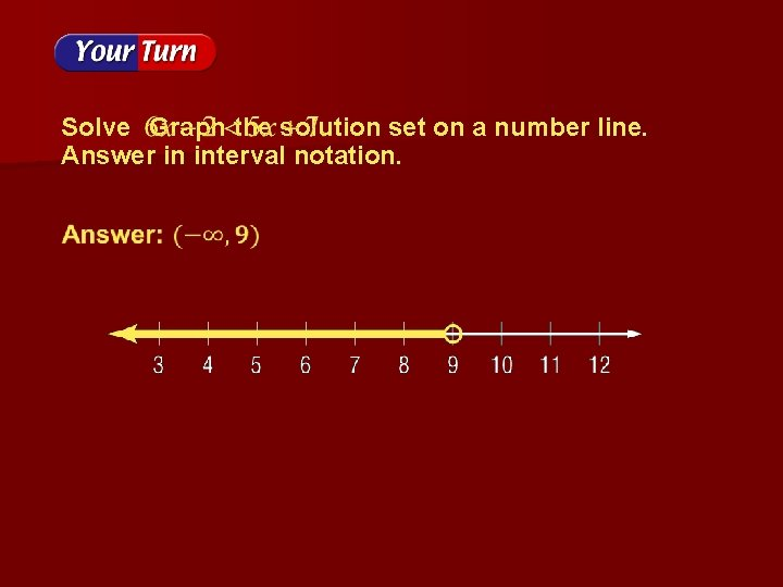Solve Graph the solution set on a number line. Answer in interval notation.