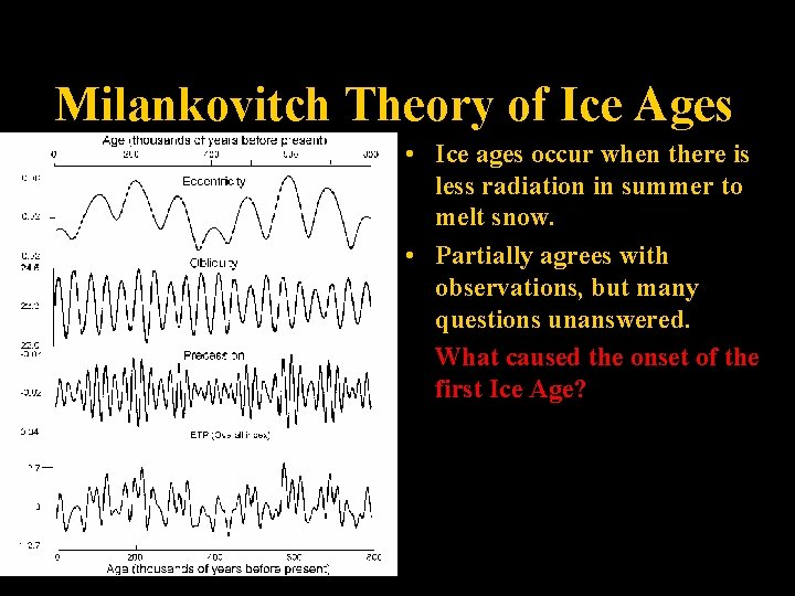 Milankovitch Theory of Ice Ages • Ice ages occur when there is less radiation