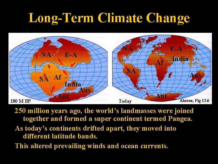 Long-Term Climate Change NA E-A SA Af 180 M BP India Aus Ant NA