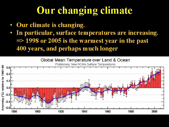 Our changing climate • Our climate is changing. • In particular, surface temperatures are