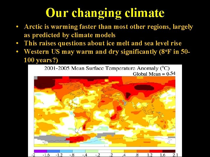 Our changing climate • Arctic is warming faster than most other regions, largely as