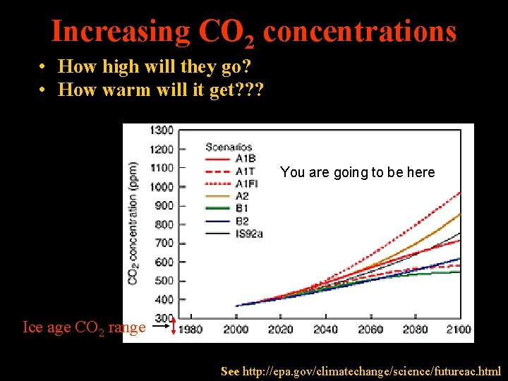 Increasing CO 2 concentrations • How high will they go? • How warm will