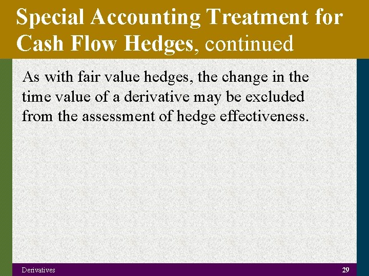 Special Accounting Treatment for Cash Flow Hedges, continued As with fair value hedges, the