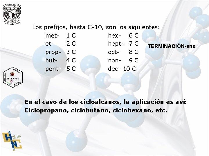 Los prefijos, hasta C-10, son los siguientes: met- 1 C hex- 6 C et