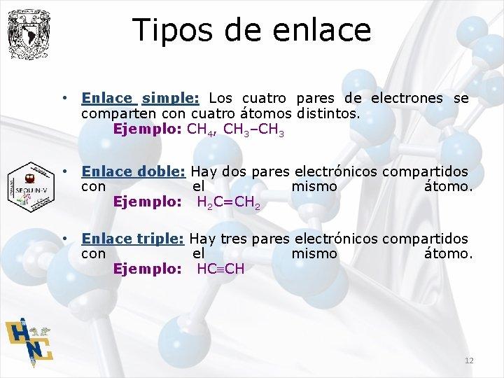 Tipos de enlace • Enlace simple: Los cuatro pares de electrones se comparten con